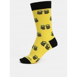 Žluté unisex ponožky s motivem piva Fusakle Na zdraví