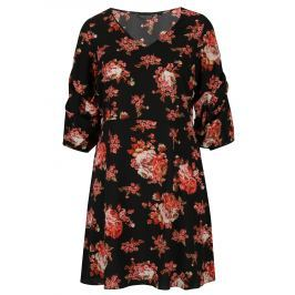 Červeno-černé květované šaty s řasením Dorothy Perkins Curve
