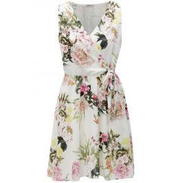 Bílé květované šaty s překládaným výstřihem Haily´s Laura