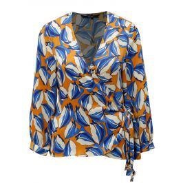 Modro-oranžová vzorovaná zavinovací halenka VERO MODA Bloom