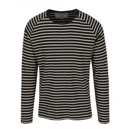 Černé pruhované pánské tričko s dlouhým rukávem Garcia Jeans