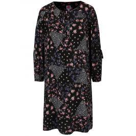Černé květované šaty s průstřihy na rukávech Juicy Couture