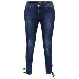 Modré skinny džíny se šněrováním Haily´s Tina