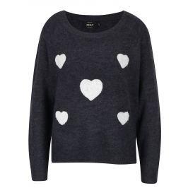 Tmavě šedý žíhaný svetr s nášivkami ONLY Bruxelles