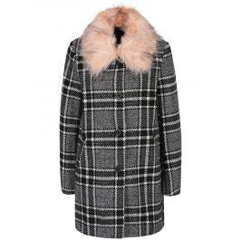 Černo-bílý vzorovaný kabát s umělou kožešinou ONLY Dory