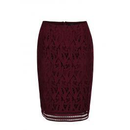 Vínová pouzdrová krajková sukně VERO MODA Exclusive