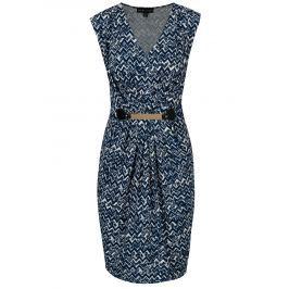 Bílo-modré vzorované šaty s kovovou aplikací Mela London