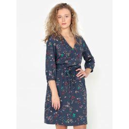 Tmavě modré květované šaty se zavazováním s.Oliver