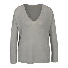 Šedý lehký třpytivý oversize svetr ONLY Geena