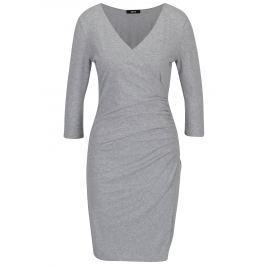 Světle šedé překládané šaty s řasením na boku ZOOT