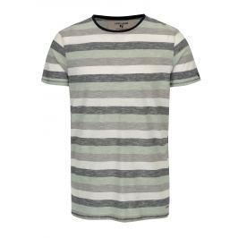 Šedo-zelené pánské pruhované tričko Garcia Jeans