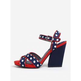 Tmavě modré puntíkované sandálky na širokém podpatku Ruby Shoo Evie
