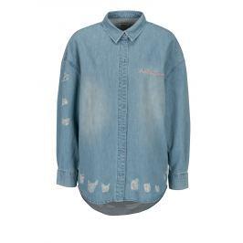 Modrá džínová oversize košile s potrhaným efektem ONLY Flora