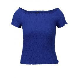Modrý crop top s odhalenými rameny ONLY Sammi
