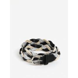 Stříbrno-černý pletený pásek Pieces Mea