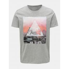 Šedé žíhané tričko s potiskem Jack & Jones Autumn City