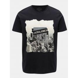 Tmavě modré tričko s potiskem Jack & Jones Autumn City