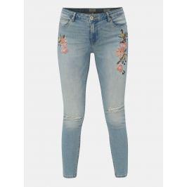 Modré skinny fit  zkrácené džíny s výšivkou a potrhaným efektem ONLY