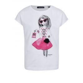 Bílé holčičí tričko s potiskem a květinou Blue Seven