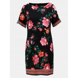 Černé květované šaty s krátkým rukávem Dorothy Perkins Petite