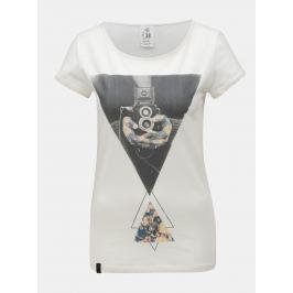 Krémové dámské tričko s potiskem WOOX