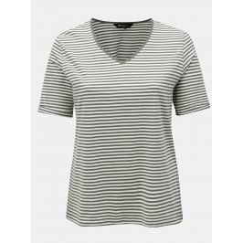 Krémovo-zelené pruhované regular tričko Ulla Popken
