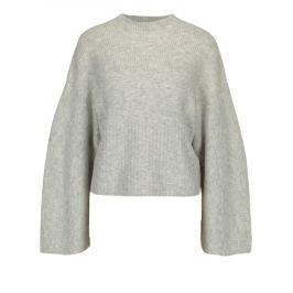 Světle šedý žíhaný svetr s perličkami Miss Selfridge