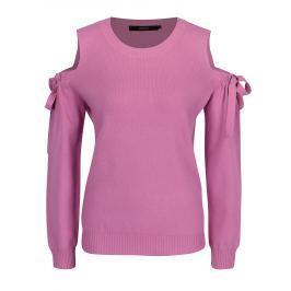 Růžový svetr průstřihy na ramenou VERO MODA Celena