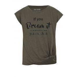 Khaki žíhané holčičí tričko s nápisem a uzlem Blue Seven