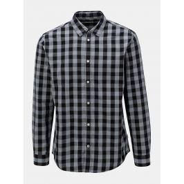 Černo-šedá kostkovaná košile s dlouhým rukávem Jack & Jones Gingham
