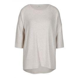 Béžový žíhaný volný svetr s 3/4 rukávem ONLY New Maye
