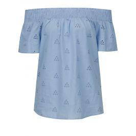 Modrá halenka s odhalenými rameny VERO MODA Romantic