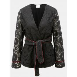 Černé krajkované kimono s páskem VILA Luas