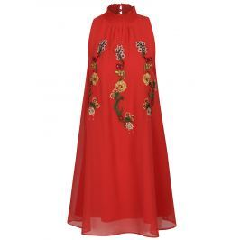 Červené šaty se stojáčkem a květovanou výšivkou Desigual Angy