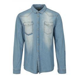 Světle modrá džínová slim fit košile s kapsami Blend