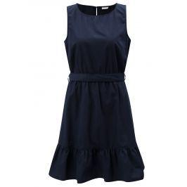 Tmavě modré šaty s volánem a zavazováním Jacqueline de Yong Damilla