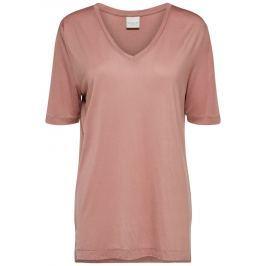 Starorůžové tričko s véčkovým výstřihem Selected Femme Lyro