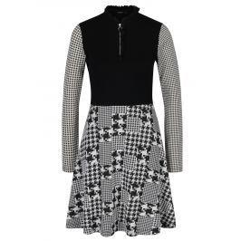 Černé šaty se vzorovanou sukní a rukávy Desigual Celine