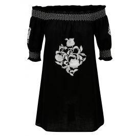 Černá tunika s výšivkou a odhalenými rameny Dorothy Perkins