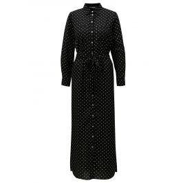 Černé puntíkované košilové maxišaty Dorothy Perkins Petite