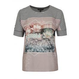 Bílo-starorůžové vzorované tričko Ulla Popken