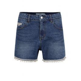 Modré džínové kraťasy s vysokým pasem a ozdobnými lemy VERO MODA Be Thirteen