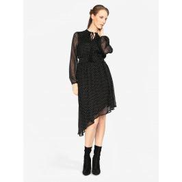 Černé asymetrické šaty s dlouhým rukávem VERO MODA Lotta