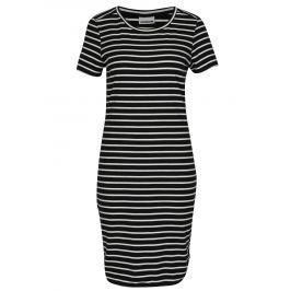 Bílo-černé pruhované šaty s krátkým rukávem Noisy May Summer Dámské šaty