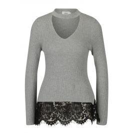 Světle šedý svetr s chokerem a krajkovým lemem ONLY Kamie Dámské svetry, roláky a pulovry