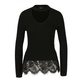Černý svetr s chokerem a krajkovým lemem ONLY Kamie Dámské svetry, roláky a pulovry