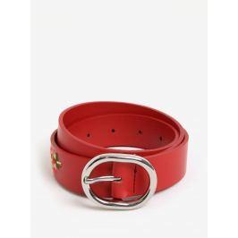 Červený kožený pásek s květinami Pieces Iviaya Pásky a šle
