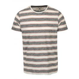Krémovo-šedé pánské pruhované tričko Garcia Jeans Heren  Pánská trička