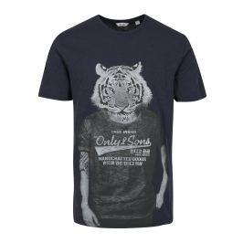 Tmavě modré tričko s potiskem ONLY & SONS Simon Pánská trička
