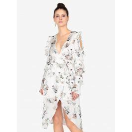 Krémové šaty s volány a páskem MISSGUIDED  Dámské šaty